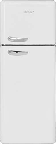 Bomann DTR 353 - Frigorífico de doble puerta de estilo retro, eficiencia energética E, 208 L, refrigeración 160 L, congelación 48 L, altura 143 cm, 184 kWh, color blanco