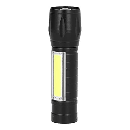 01 Linterna de Mano, Mini Linterna Recargable por USB a Prueba de Agua con cordón de luz Lateral COB para Pesca Nocturna para Senderismo para Acampar