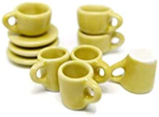 1shopforyou (N.10) 10 PCS Yellow Color Ceramic Coffee Tea Mug Cup Dollhouse Miniature Kitchenware-Diameter 10-13 mm/ Heigh...