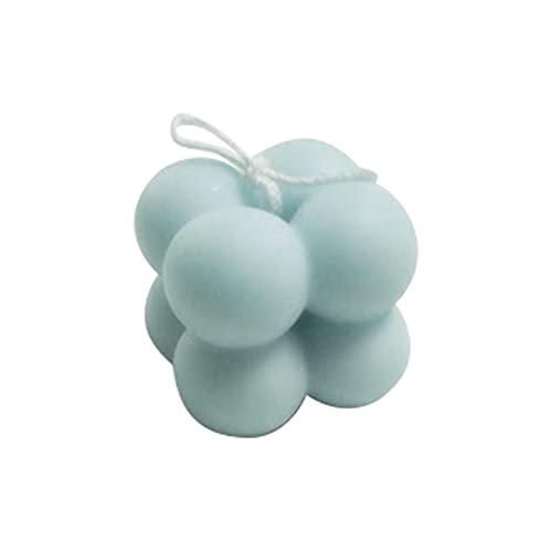 L1YAFYA 4 cm Mini Cube Geometría Romántica Soja Cera Acadeado Vela perfumada para Boda, Decoración del hogar, Prórrastre de Fotos, Regalo, Baño y Body Works Velle, Pilar (Color : Blue)