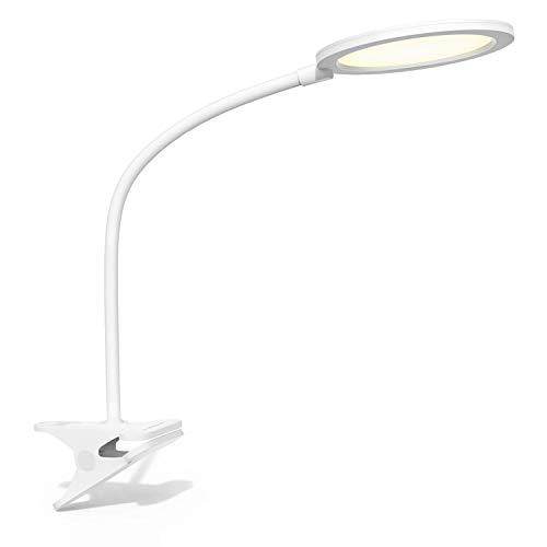 Aigostar - Lámpara de escritorio LED de pinza con protección ocular, Ra≥95, 7,5W, luz natural 4000K, 380lm. Flexo LED con brazo flexible 90 °, interruptor, nivel luz azul RG0. Color blanco.