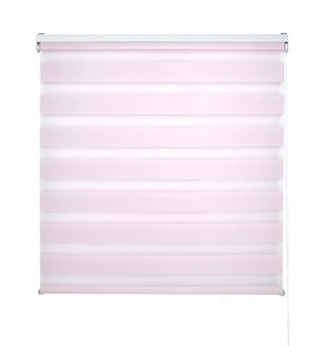 Blindecor LIRA - Estor enrollable de doble capa Noche y Día, Rosa, 160 x 180 cm, ancho x largo