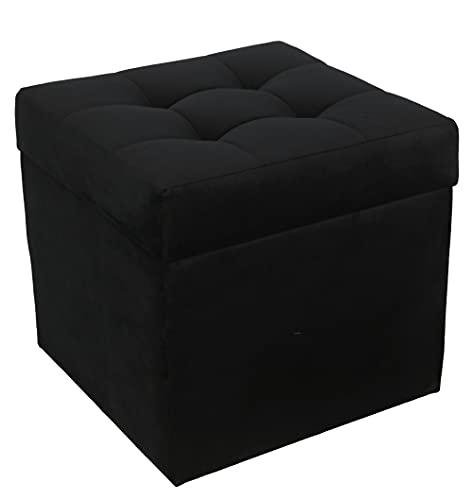 postergaleria Sitzhocker mit Stauraum, gesteppt, aus weichem Veloursstoff, Fußstütze 45x45 cm (Black)