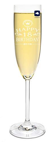 FORYOU24 Leonardo Sektglas mit Gravur Happy Birthday 18 Jahre Sekt-Glas graviert Geburtstag Geschenkidee