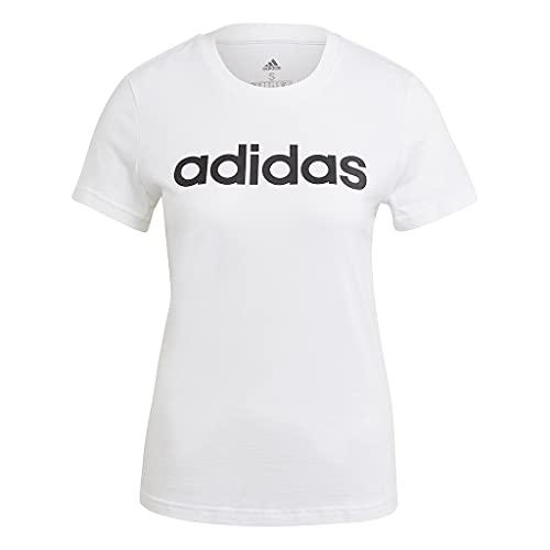 adidas Essentials Linear, Maglietta Donna, Bianco Nero, M