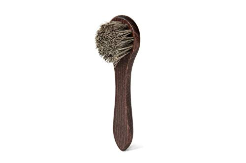 Szczotka do polerowania butów firmy Lettro, drewniana szczotka do butów Dauber do nakładania wosku i kremu na buty i buty, szczotka do butów z włosia końskiego odpowiednia do wszystkich skórzanych, szare włosie