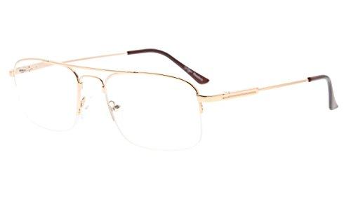 Eyekepper Half-Rim Womens Reading Glasses Memory Titanium Bendable Mens Readers (Gold,+1.50)