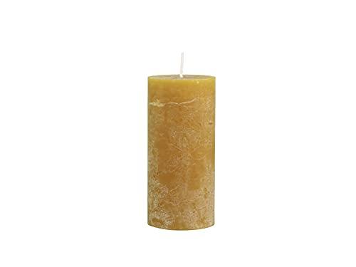 Chic Antique Macon - Candela rustica a colonna in diversi colori e dimensioni anticate, 100% paraffina lunga durata (senape, 15 x 7 cm)