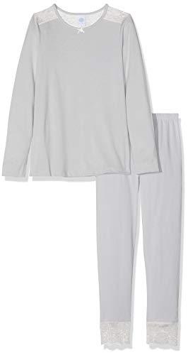 Sanetta Mädchen Pyjama Zweiteiliger Schlafanzug, Grau (Ice Grey 1566), (Herstellergröße: 128)