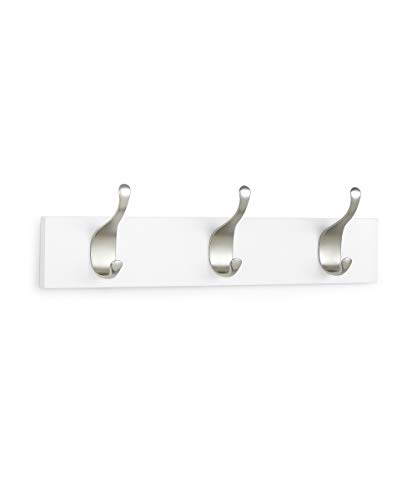 AmazonBasics - Perchero de madera de pared, 3 ganchos modernos 34 cm, Blanco, 2 unidades