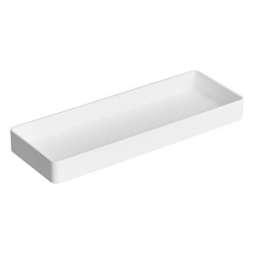 AmazonBasics Plastic Desk Organizer - Half Accessory Tray, White