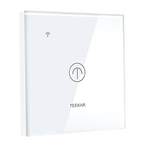 Interruptor de luz WiFi Alexa de Teekar, control de aplicación inteligente, para todas las casas, silencioso, con función de temporizador, compatible con Alexa y Google Home (1 velocidad)