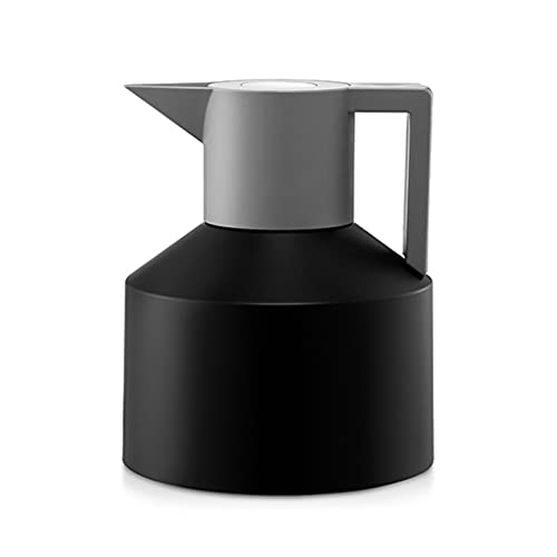 WALNUTA Nordic Simple Stainless Steel Vacuum Insulation Pot Large Capacity Hot Water Bottle High Value Thermos Geometric Coffee Kettle (Color : Black)