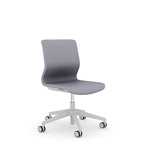 Viasit Drumback Konferenz Drehstuhl mit telegrauem Gestell - ergonomisch (Silbergrau, ohne Armlehnen)