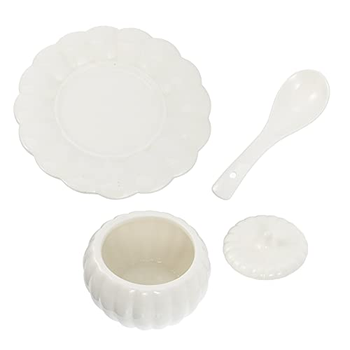 YARNOW 1 Juego de Tazón de Sopa de Calabaza con Tapa de Cuchara Y Platillo 4 Pulgadas de Cerámica Tazón de Azúcar Olla de Condimento de Porcelana Tazón de Huevo Vapor para Cocina