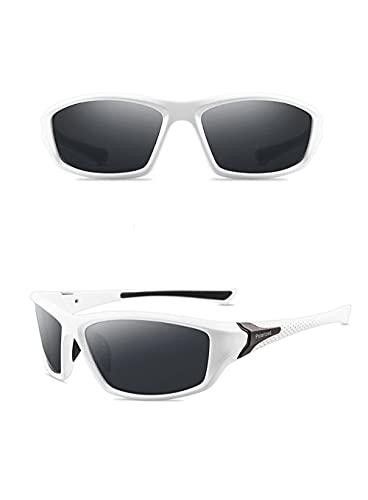 A-Generic Gafas de Sol polarizadas para Hombre para Mujer Clásico Retro Reducción Gafas para Conducir Pesca Deportiva-Gris Blanco