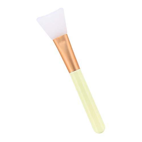 Brosses Pinceaux Applicateur de Mélange à Tête Silicone et Poignée en Bois pour Application Masque Facial, Masque Boue, Lotion du Corps - Beige