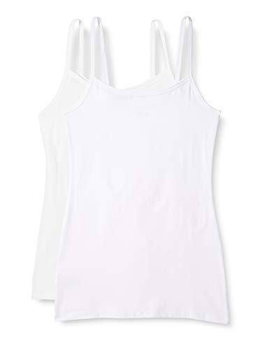 Amazon-Marke: Iris & Lilly Damen Unterhemd aus Baumwolle, 2er-Pack, 1 x Weiß, 1x Soft Pink, M, Label: M