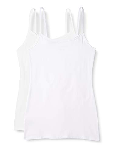 Marca Amazon - IRIS & LILLY Camiseta de Tirantes Body Natural para Mujer, Pack de 2, 1 x Blanco & 1 x Rosa Claro, S, Label: S