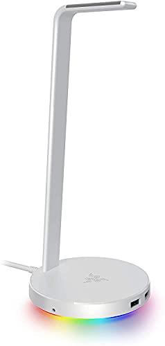 Razer Base Station V2 Chroma - Chroma Enabled Headset Stand with USB 3.1 Hub and 7.1 Surround Sound - Mercury- RC21-01510300-R3M1