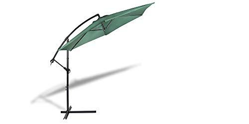 909 OUTDOOR Grüner Ampelschirm für Terrasse, Balkon und Garten Ø 300 cm, Verstellbarer Sonnenschirm mit Fußkreuz und Kurbel, Gartenschirm aus Polyester & Stahl