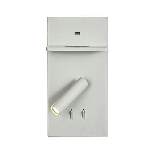 Lámpara de cabecera LED Luz de noche Multifuncional Luz de noche Lectura Ajustable COB Spotlight con cargador inalámbrico y puerto USB Dormitorio giratorio Sala de estar Sponces Iluminación blanca [Cl
