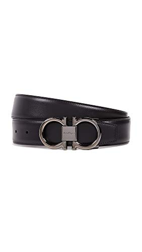 Salvatore Ferragamo Men's Double Gancio Reversible Belt, Nero/Hickory, Black, Brown, 40