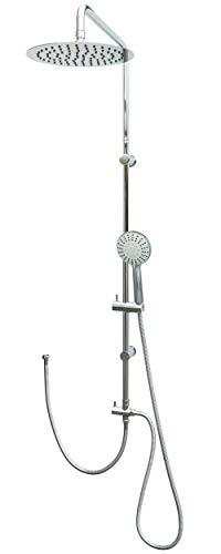 Duschset Edelstahl mit Regendusche zwei verstellbare Wandhalter Chrom Duschstange Shower Set