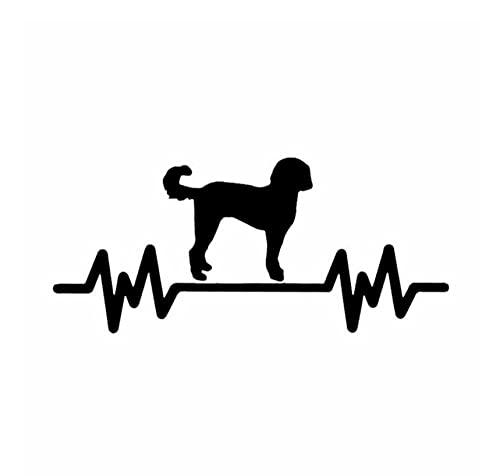 MDGCYDR Lustige Autoaufkleber Hund 16,9X7,5 cm Doodle Herzschläge Für Lifeline Vinyl Hunderasse Aufkleber Autoaufkleber Schwarz/Silber