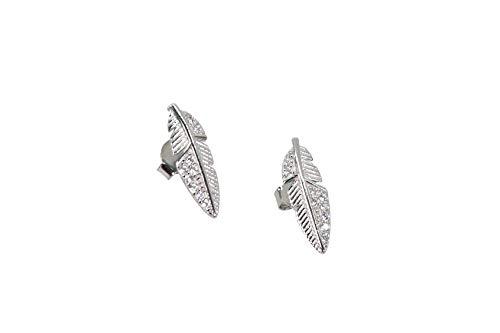 MAGICMOON - Mod. VTP10000339 - Raffinato orecchino donna Piuma argento 925 rodiato impreziosito da zirconi bianco brillante