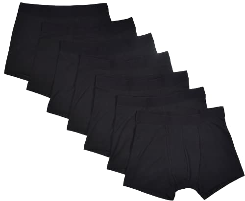 Bread and Boxers Men's 7 Pack Boxer Briefs, Black, Small
