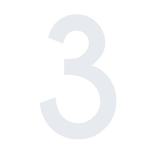 Mülltonnen Aufkleber Zahlen Sticker Folie & Ziffern kombinierbar (10 cm, Zahl 3, weiß)