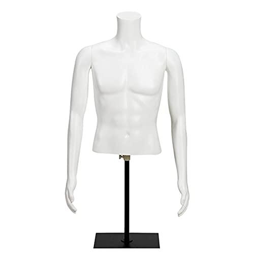 SCJ Maniquí Masculino, Medio Cuerpo de plástico Maniquí Masculino Traje de baño Ropa Interior Estante de exhibición de Ropa, Brazos Desmontables Soporte de Metal (Color: Blanco, Tamaño: 97-118cm