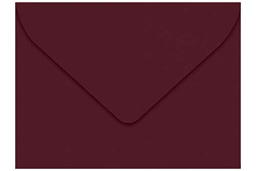 LUXPaper #17 Mini Envelopes in 80 lb. Burgundy Linen for 2 9/16 x 3 9/16 Cards, Printable Envelopes for Gift Cards and Thank You�s, with Glue, 50 Pack, Envelope Size 2 11/16 x 3 11/16 (Burgundy)
