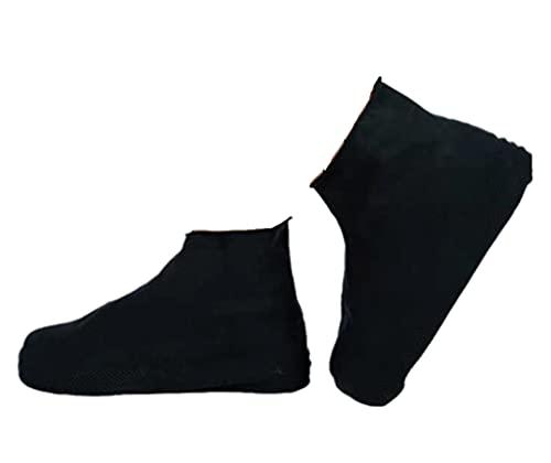 シューズカバー 防水 靴カバー コンパクト軽量 携帯便利 滑り止め 耐摩耗 梅雨対策 通勤通学 男女兼用 お手入れ簡単 (S, 黒の背の高いチューブ)