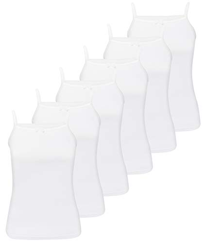 LOREZA ® 6 Stück Mädchen Unterhemden (104-110, Weiß - 6 Stück)