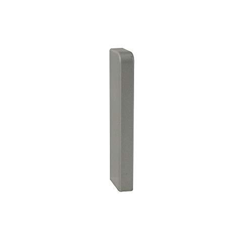 Trevendo® Endkappe links silber für Sockelleiste weiß 58mm TOP MDF Fußleisten für Vinyl Laminat Parkett
