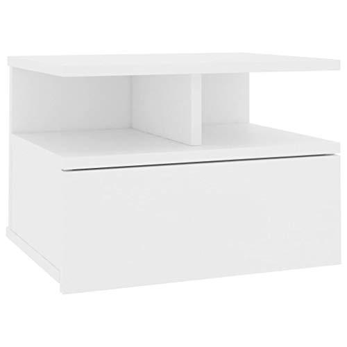 vidaXL Mesita de Noche Flotante Aglomerado Mobiliario Hogar Decoración Diseño Sencillo Elegante Funcional Práctico Compacto Útil Blanca 40x31x27cm