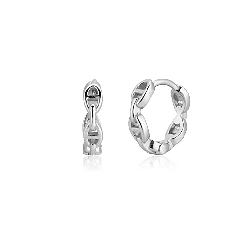 100% 925 Plata Oro Cuadrado Aro Rueda Huggies Piercing Bucles Joyería lisa 100% Clips-Aro de plata