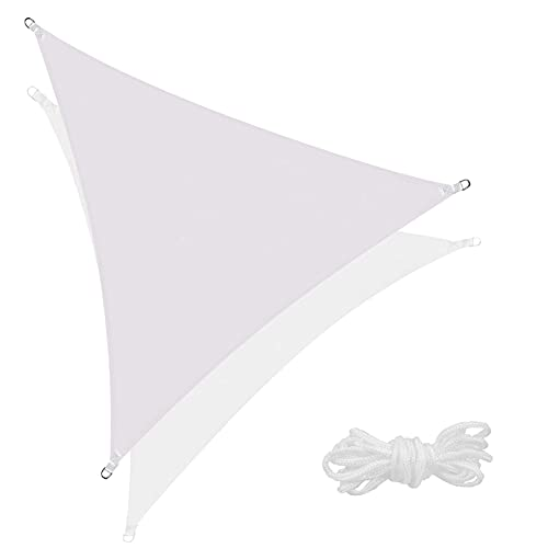 SPRINGOS Toldo triangular, incluye cuerda tensora, impermeable, protección solar, toldo triángulo para jardín, terraza, balcón, protección contra el viento, sombra (triángulo beige 5 x 5 x 5 m)