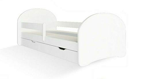 MEBLEX Children Toddler Bed for Kids White WITH DRAWERS & Safety Foam Mattress 160x80cm Children Sleeping Bedroom Furniture with MDF Full Bed Frame with Built-in Headboard (All White, 160x80cm)
