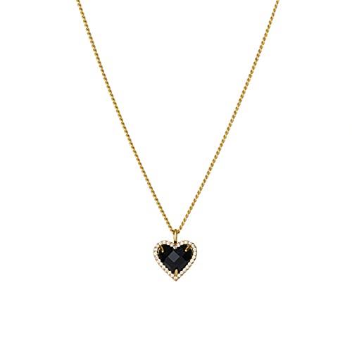 AMTBBK Damen Anhänger Halskette - vergoldete Halskette, künstliche Pfirsich Herz Kristall einstellbare Klassische Halskette für Mädchen