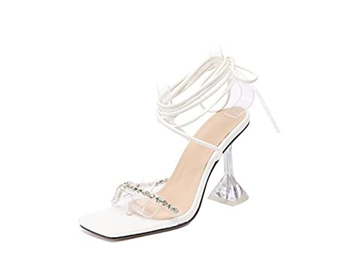 CoolTing 20201SummerEl New Women Sandals Sandals Sandals Sandals Alto Tacones Rhinestone Strap Lace Up Shoes Ladies Sexy Fiesta White35-42,Blanco,42