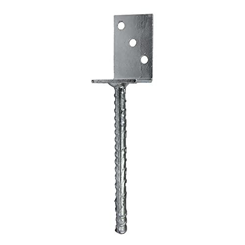 GeZu Impex® Pfostenträger L-Form 70 x 300 mm mit Steindolle zum einbetonieren, Pfostenhalter, Zaunträger