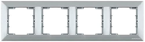 Marco de 4 enchufes, marco de interruptores, 4 enchufes, horizontal, empotrado, color plateado y plateado