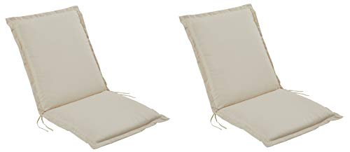 Pure Home & Garden 2er Set Niederlehner Gartenstuhl Auflagen Cream, Made IN Europe, 100 x 50 x 6 cm