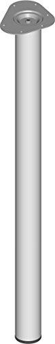 Element System 4 Stück Stahlrohrfüße rund, Tischbeine, Möbelfüße inklusive Anschraubplatte, Länge 90 cm, Durchmesser 60 mm, 4 Farben, 6 Abmessungen, weißaluminium, 11102-00082