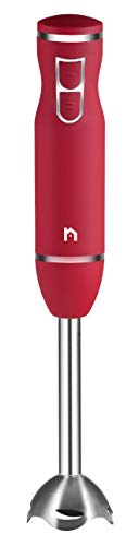 New House Kitchen Immersion Hand Blender 2 Speed Stick Mixer with Stainless Steel Shaft & Blade, 300 Watts Easily Food, Mixes Sauces, Purees Soups, Smoothies, and Dips, Red