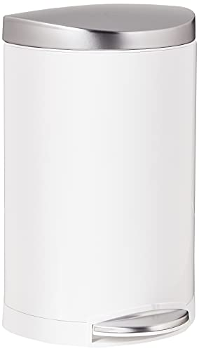 simplehuman 10 Liter / 2.3 Gallon Small Semi-Round Bathroom Step Trash Can, White Steel with Stainless Steel Lid