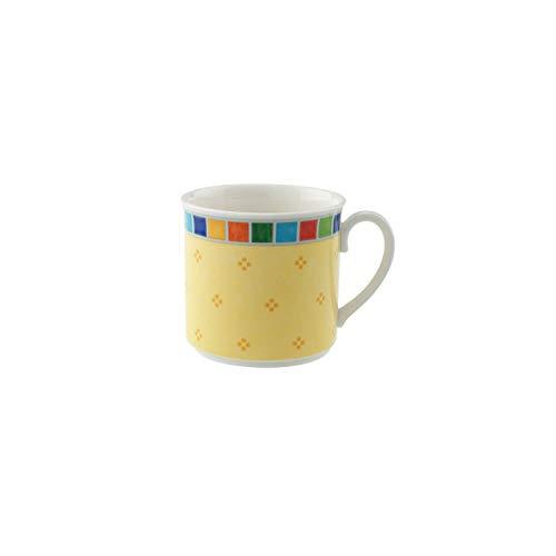 Villeroy & Boch Twist Alea Limone Tasse, 200 ml, Höhe: 7 cm, Premium Porzellan, Weiß/Gelb